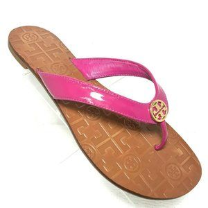 Tory Burch Pink Thora Thong Flat Leather Sandals